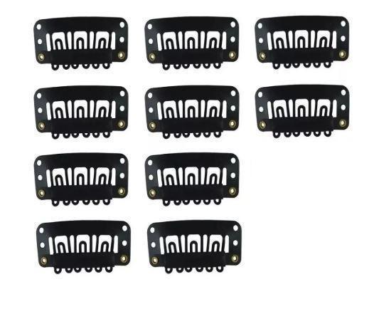 Imagem de Presilha Tic Tac para apliques, perucas e alongamentos 10un preto