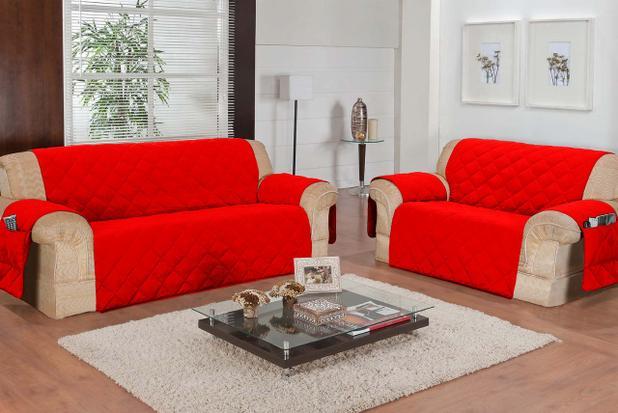 Imagem de Protetor De Sofá 02 E 03 Lugares Com 2 Peças - Vermelho