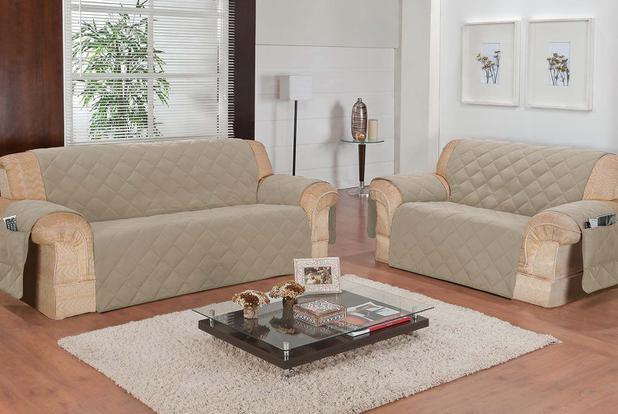 Imagem de Protetor de sofá 2 e 3 lugares face unico confort castor