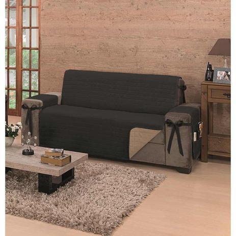 Imagem de Protetor de Sofá Avulso King Premium com Laços para 3 Lugares Dupla Face Preto Kaqui