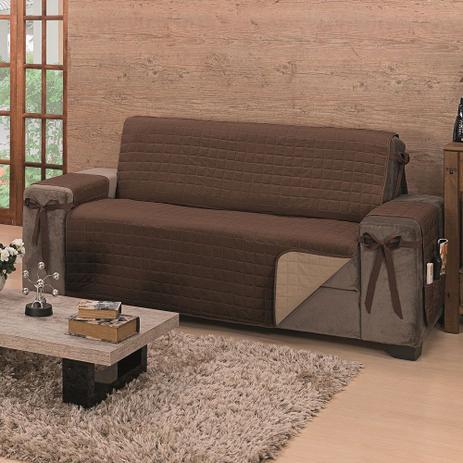 Imagem de Protetor de Sofá Premium com Laços 3 Lugares Avulso King Dupla Face Tabaco/Cáqui - Algodão