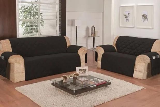 Imagem de protetor de sofa promoçao 3x2 lug preto costurado