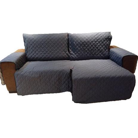 Imagem de Protetor Para Sofá De 2 Módulos Microfibra Matelado Retrátil Reclinável Com Assento De 2,30M - Chumbo