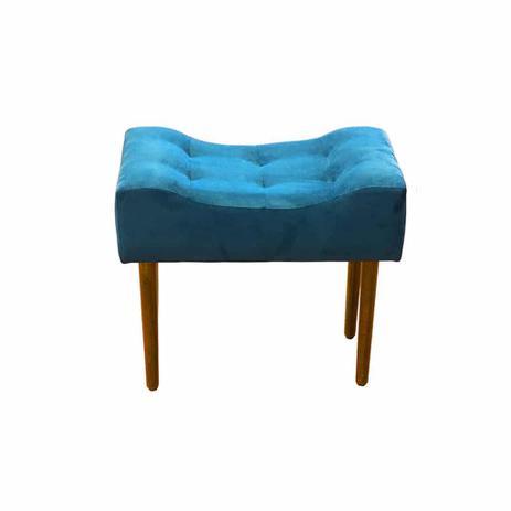 Imagem de Puff Decorativo Retangular Pés Madeira Suede Azul Turquesa