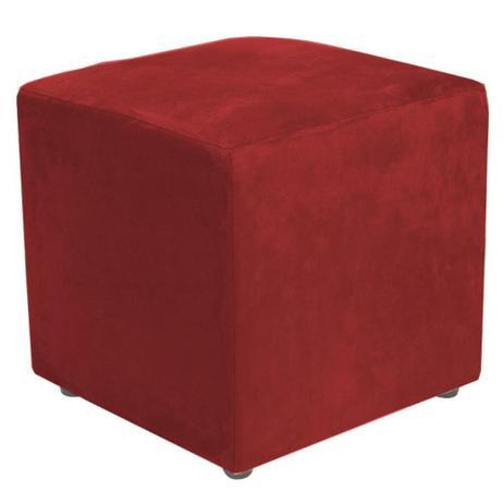 Imagem de Puff Quadrado Decorativo Suede Vermelho - Lyam Decor