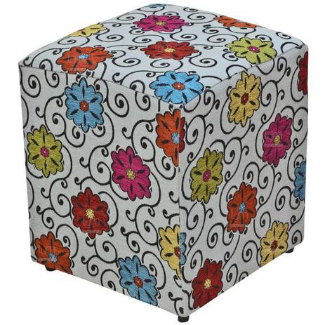 Puff Quadrado Decorativo Tecido Linho Floral - Lymdecor - Puffs ... ae4d749625a