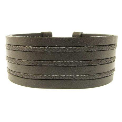 Pulseira Bracelete Masculina Tiras de Couro e Corda Encerada Ajustável  Preta - Youser acessórios 5a692aa5ddc4e