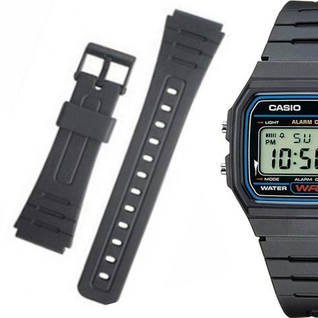 ef1d1d9e740 Pulseira Compatível para Relógio Casio F91 de Silicone Preta - Oficina dos  relogios