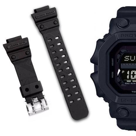 b2e85f0acca Pulseira Compatível para Relógio Casio Gx56 de Silicone Preta - Oficina dos  relogios
