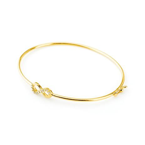 c869183b712e8 Pulseira de Ouro 18k Algema com Infinito e Diamantes pu03297 - Joiasgold