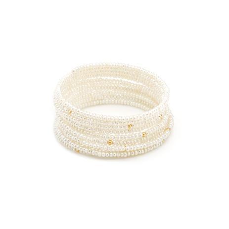 e7416e1189bd3 Pulseira de Ouro 18k Bracelete Espiral de Pérolas pu04177 - Joiasgold