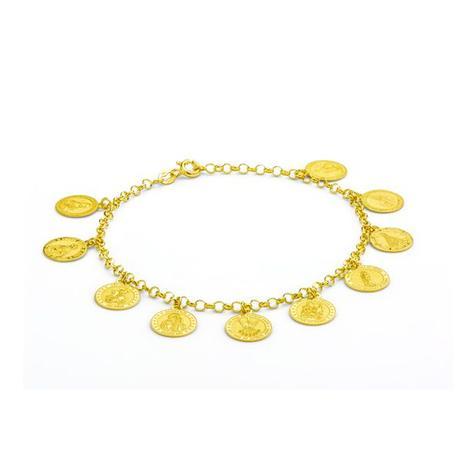 Pulseira de Ouro 18k com Berloques de Santos 19cm pu02956 - Joiasgold 275db8838d