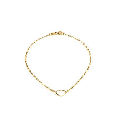 Pulseira de Ouro 18k Coração Menor com Diamante de 17cm pu04310 - Joiasgold 6ef5f0037f
