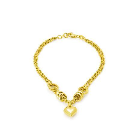 Pulseira de Ouro 18k Elos Ovais com Coração Pendurado de 19cm pu03632 -  Joiasgold 75e8e07510