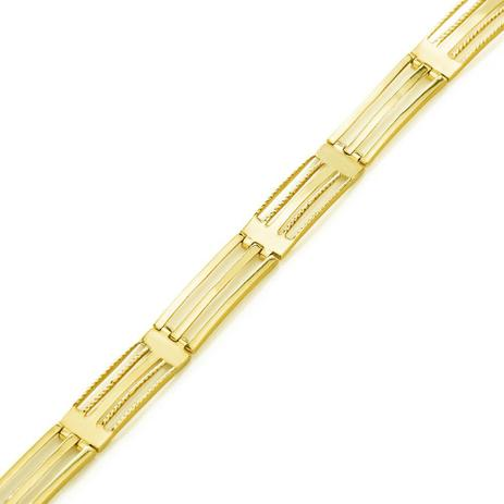 Imagem de Pulseira de Ouro 18k Gomos Retangular Vazado com 23cm pu04077