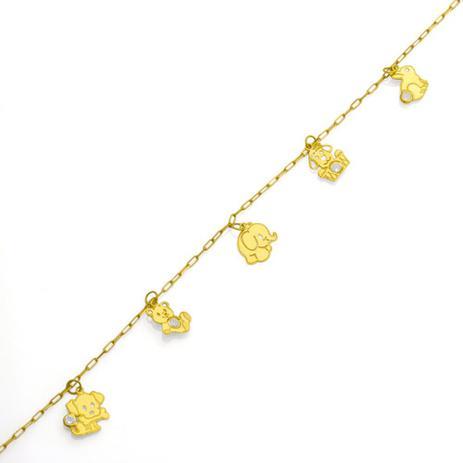d21e13eb2bb Pulseira de Ouro 18k Infantil Bichinhos com Zircônia 13cm pu03359 -  Joiasgold