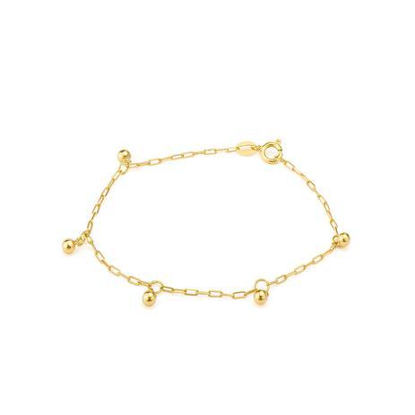 e2f979606e826 Pulseira de Ouro 18k Infantil de Bolinhas de 13cm pu01152 - Joiasgold