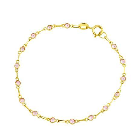 848f81abbb5 Pulseira de Ouro 18k Malha Cartier com Zircônia Rosa Infantil 12cm pu0 -  Joiasgold