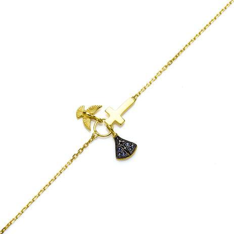 e575bce01e62a Pulseira de Ouro 18k Nossa Senhora Aparecida com Safiras com 18cm pu03 -  Joiasgold