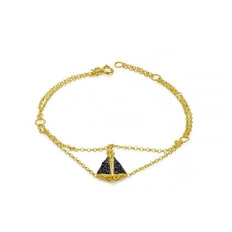 f432ee95df34e Pulseira de Ouro 18k Nossa Senhora Aparecida com Safiras pu03565 - Joiasgold