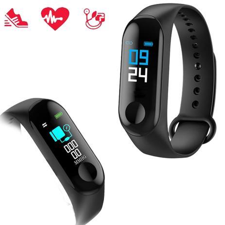 b5137677f5e Pulseira Inteligente Smart M3 Monitor Cardíaco Relógio Bluetooth ...