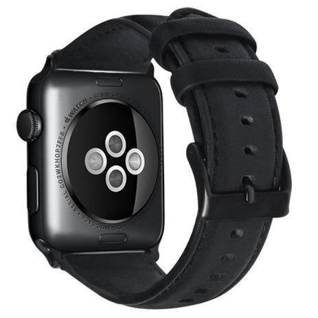 6dc4e1abec9 Pulseira Kopeck Couro Preto Apple Watch 42 e 44 mm Série 1 2 3 4 ...
