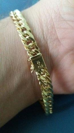 53c9f3ecbc44e Pulseira Masculina Elo Duplo Ouro 18k Grumet Fecho Gaveta - Total pratas