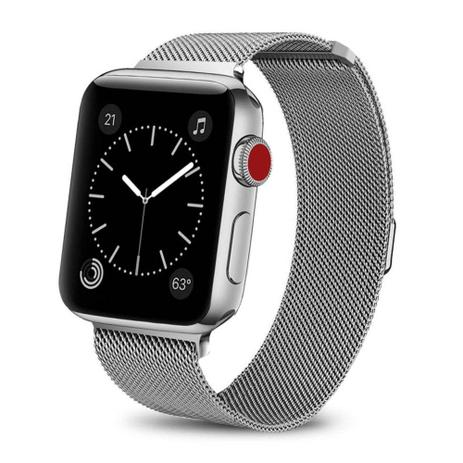 b88bc740e18 Pulseira Para Apple Watch Magnetico Milanese - Prata 42mm ...