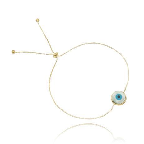 606f28e33 Pulseira Regulável Olho Grego Madre Pérola Dourada - Drusi semi joias