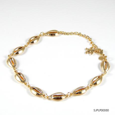 9e8b72580 Pulseira semi-jóia com búzios com banho de ouro 18k sjplf00330 - Semi-joia