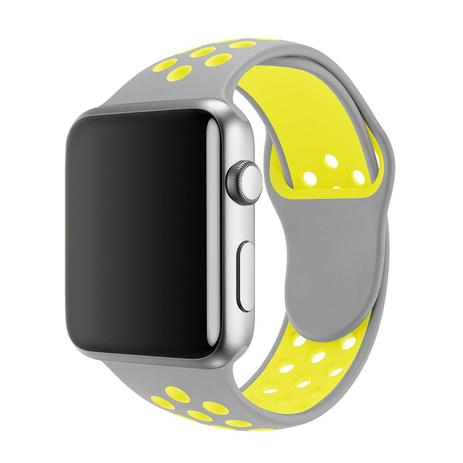 266180089fd Pulseira Sport Silicone Nk Furo Para Apple Watch 1 2 3 4- 42 44mm -  Cinza Amarela - Omnii fast