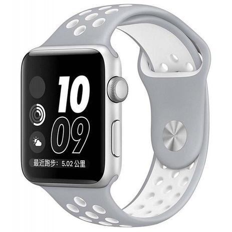 613bcf70038 Pulseira Sport Silicone Nk Furo Para Apple Watch 1 2 3 4- 42 44mm -  Cinza Branco - Omnii fast