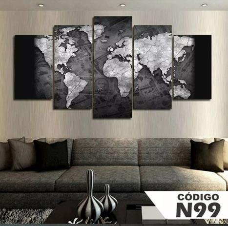 Imagem de Quadro 5 Peças Mosaico Mapa Mundi Preto E Branco 4k Mdf6mm