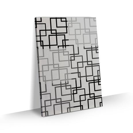 6d3991329 Quadro Abstrato Geométrico Quadrados Preto Branco Tela 60x40 - Bimper