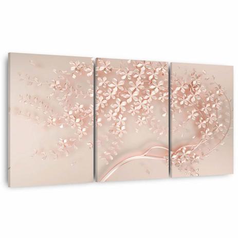 Imagem de Quadro Árvore Flores Cerejeiras Moderna Para Sala Quarto 3 Peças