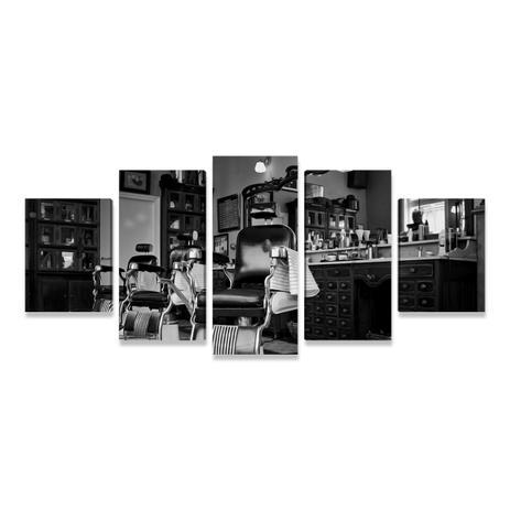 1a9bbdc2434 Quadro Barbearia Vintage Mosaico 5 Telas Retrô Vintage PEQ - Bimper ...