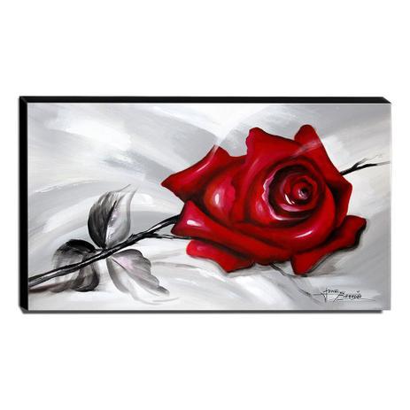 Quadro De Pintura Rosa Vermelha 60x105cm 1562 Artista June Brandão