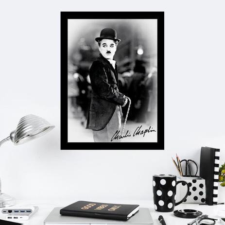 Imagem de Quadro Decorativo 27x36 Charlie Chaplin com Assinatura