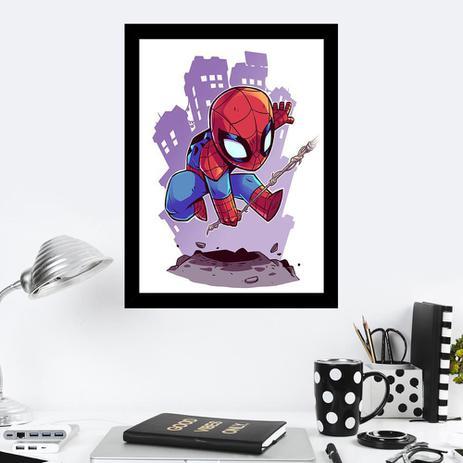 Quadro Decorativo 27x36 Desenho Infantil Homem Aranha Quero Mais