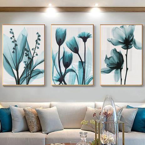 Imagem de Quadro decorativo azul floral impressão da arte
