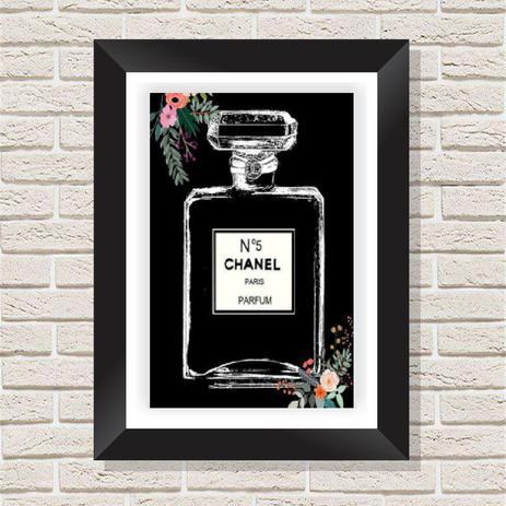 ef97adaec0dc2e Quadro Decorativo com Moldura em Madeira Maciça e Vidro Perfume Chanel A006  - Brasil quadros