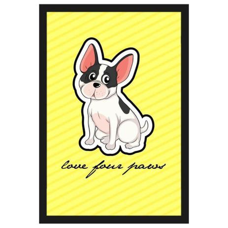Quadro Decorativo De Cachorro Com Moldura Preta E Frase Amor Pelas Patas 40x60cm Decore Pronto