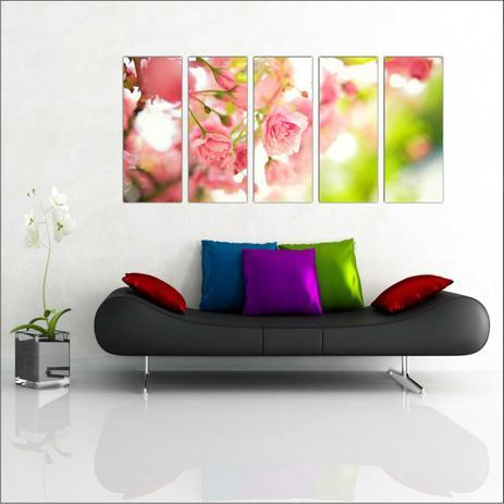f80e92636 Quadro Decorativo Flor Rosa Salas Decorações Mosaico 5 Peças GG15 - Vital  quadros do brasil