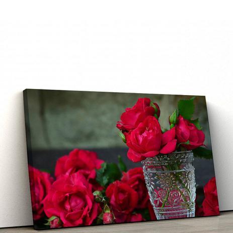 0fa5600a2 Quadro Decorativo Flor Rosas Vermelhas 100x50cm Para Sala - Artplex ...