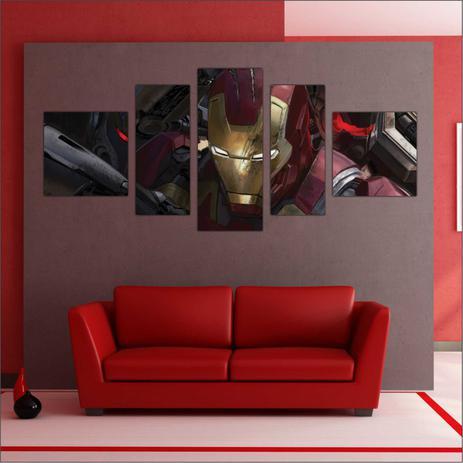 06e2940703 Quadro Decorativo Iron Man Homem De Ferro Avengers Vingadores 5 Peças GG3 -  Vital