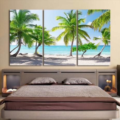 Imagem de Quadro decorativo mosaico 3 peças decoração lar sala quarto copa tamanho grande praia descanso