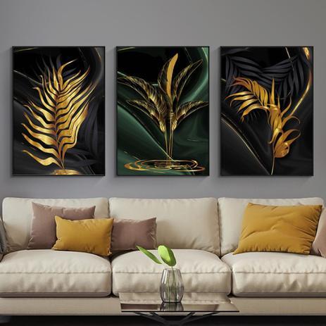 Imagem de Quadro decorativo mosaico 3 peças folhas Douradas de plantas, dourada, arte abstrata,