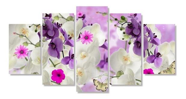 Imagem de Quadro Decorativo Mosaico Mosaico Flor Orquídea Branca