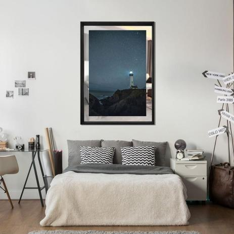 Imagem de Quadro em Tela Paisagem Farol Com Espelho e Moldura Preta 80x110cm