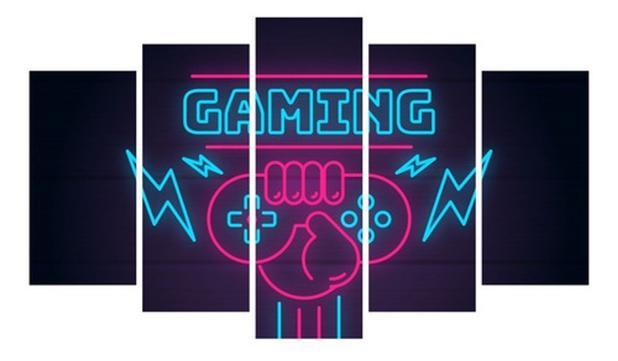 Imagem de Quadro Gamer Mosaico Decoração 5 Peças Jogos Video Game 05